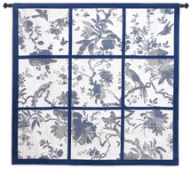 Floral Division Blue and Oyster | Woven Tapestry Wall Art Hanging | Silhouetted Tropical Birds and Plants Panel Artwork | 100% Cotton USA Size 53x52 Wall Tapestry