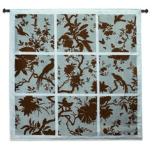 Floral Division Aqua and Brown | Woven Tapestry Wall Art Hanging | Silhouetted Tropical Birds and Plants Panel Artwork | 100% Cotton USA Size 53x52 Wall Tapestry