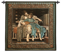 The Music Lesson By Lord Frederic Leighton - Woven Tapestry Wall Art Hanging For Home Living Room & Office Decor - Historical Classic 19Th Century Blue Olive Greens Patterned Artwork - 100% Cotton - USA 50X53 Wall Tapestry