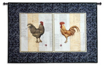 Poulette de Campagne   Woven Tapestry Wall Art Hanging   Classic Rooster and Chicken on Text Parchment   100% Cotton USA Size 52x35 Wall Tapestry