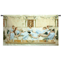 Interlude by William Reynolds-Stephens | Woven Tapestry Wall Art Hanging | Five Women Resting Classic Architectural Setting | 100% Cotton USA Size 73x41 Wall Tapestry