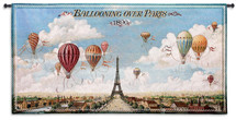 Ballooning Over Paris by Isiah and Benjamin Lane | Woven Tapestry Wall Art Hanging | Colorful Hot Air Balloons on Parisian Sky Vintage Drawing | 100% Cotton USA Size 48x25 Wall Tapestry