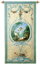 Panelled Detail With Doves By Alex Peyrotte - Woven Tapestry Wall Art Hanging For Home Living Room & Office Decor - French Textile Panel Rendered In Teal Blue Motif - 100% Cotton - USA 68X34 Wall Tapestry