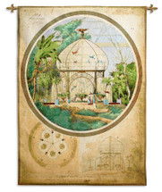 Aviary In Winter Garden By Adrien Chancel - Woven Tapestry Wall Art Hanging For Home Living Room & Office Decor - Asian Garden Bird Cage With Rich Umber Tones - 100% Cotton - USA 52X37 Wall Tapestry
