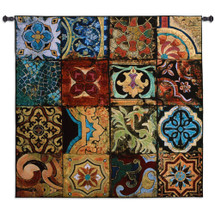 Arabian Nights I - Woven Tapestry Wall Art Hanging - Patchwork Warm Tones Tile Motif Of Middle East Geometry Architecture - 100% Cotton - USA Wall Tapestry