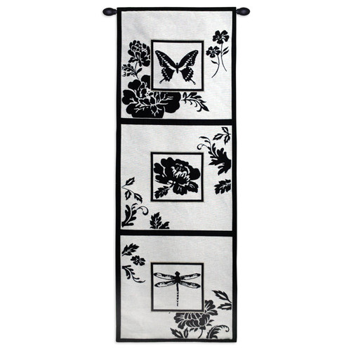 Silhouette Study | Woven Tapestry Wall Art Hanging | Stark Black and White Nature Panels | 100% Cotton USA Size 50x18 Wall Tapestry