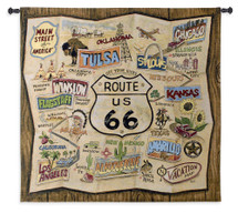 Route 66 | Woven Tapestry Wall Art Hanging | Classic Americana Highway Destination Road Trip Map | 100% Cotton USA Size 44x44 Wall Tapestry