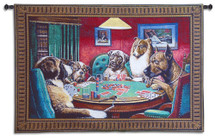 Bold Bluff | Woven Tapestry Wall Art Hanging | Classic Whimsical Canine Poker Lounge | 100% Cotton USA Size 52x35 Wall Tapestry