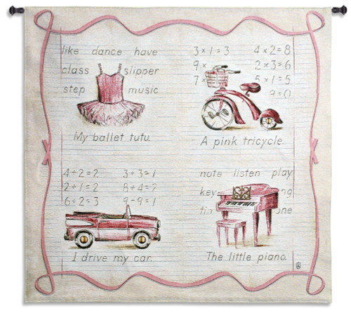 Pink Fun | Woven Tapestry Wall Art Hanging | Delightful Childhood Toys with Lined Paper Background | 100% Cotton USA Size 45x42 Wall Tapestry