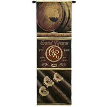 Grand Reserve | Woven Tapestry Wall Art Hanging | Earthy Rustic Wine and Cigar Panels | 100% Cotton USA Size 72x24 Wall Tapestry