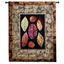 Autumn Glory Collection - Woven Tapestry Wall Art Hanging For Home Living Room & Office Decor - Autumn Birch Fall Maple Leaves Motif Rustic - 100% Cotton - USA 52X42 Wall Tapestry