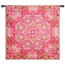 Rangoli Raspberry | Woven Tapestry Wall Art Hanging | Decorative Kolam Muggu India Folk Design with Kaleidoscope Medallion Patterns | 100% Cotton USA Size 52x51 Wall Tapestry