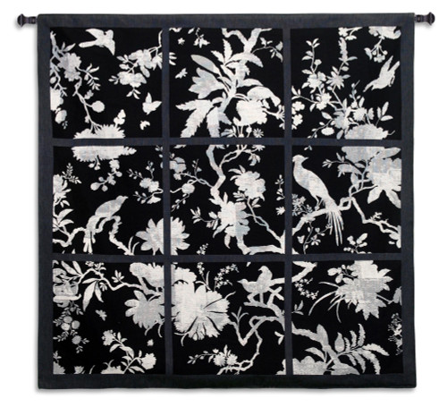 Floral Division Black and White   Woven Tapestry Wall Art Hanging   Silhouetted Tropical Birds and Plants Panel Artwork   100% Cotton USA Size 53x52 Wall Tapestry