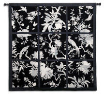 Floral Division Black and White | Woven Tapestry Wall Art Hanging | Silhouetted Tropical Birds and Plants Panel Artwork | 100% Cotton USA Size 53x52 Wall Tapestry