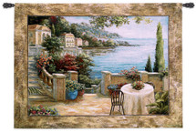 Mediterranean Terrace Ii By Vivian Flasch - Woven Tapestry Wall Art Hanging - Italian Villa Seaside With A Colorful Potted Floral Coastal Theme - 100% Cotton - USA 41X54 Wall Tapestry