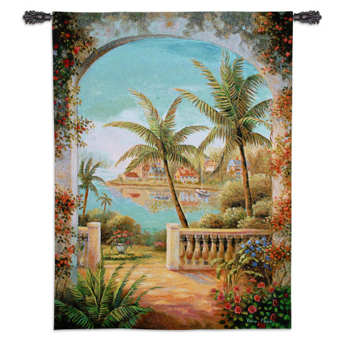 Tropical Terrace II by Vivian Flasch | Woven Tapestry Wall Art Hanging | Lush Tropical Seascape View through Terrace Arch | 100% Cotton USA Size 54x40 Wall Tapestry