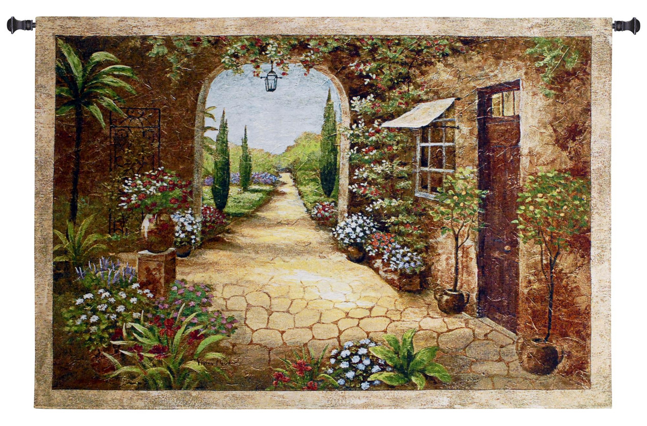 Secret Garden I Woven Tapestry Wall Art Hanging For Home Living Room Office Decor Transitional Floral Pathway Old World Tuscan Villa Themed