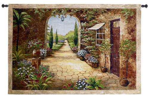 Secret Garden I  - Woven Tapestry Wall Art Hanging For Home Living Room & Office Decor - Transitional Floral Pathway Old World Tuscan Villa Themed Artwork - 100% Cotton - USA 37X55 Wall Tapestry