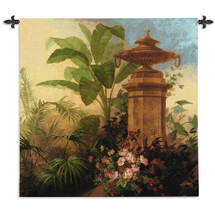 Tropic Fantasy II by Acorn Studios | Woven Tapestry Wall Art Hanging | Lush Tropical Foliage with Stone Pillar | 100% Cotton USA Size 54x54 Wall Tapestry