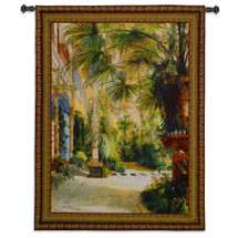 The Palm House By Karl Blechen - Woven Tapestry Wall Art Hanging - Lush Tranquil Palm Trees Tropical Plants Foliage Flora Garden Artwork - 100% Cotton - USA Wall Tapestry