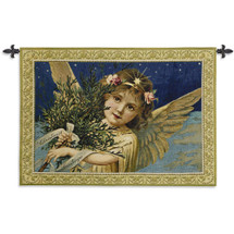 Christmas Greetings | Woven Tapestry Wall Art Hanging | Festive Golden Holiday Angel on Starry Night | 100% Cotton USA Size 54x38 Wall Tapestry