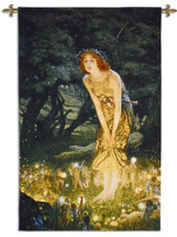 Midsummer Eve by Edward Robert Hughes   Woven Tapestry Wall Art Hanging   Woman with Glowing Forest Fairies Fantasy Artwork   100% Cotton USA Size 52x34 Wall Tapestry