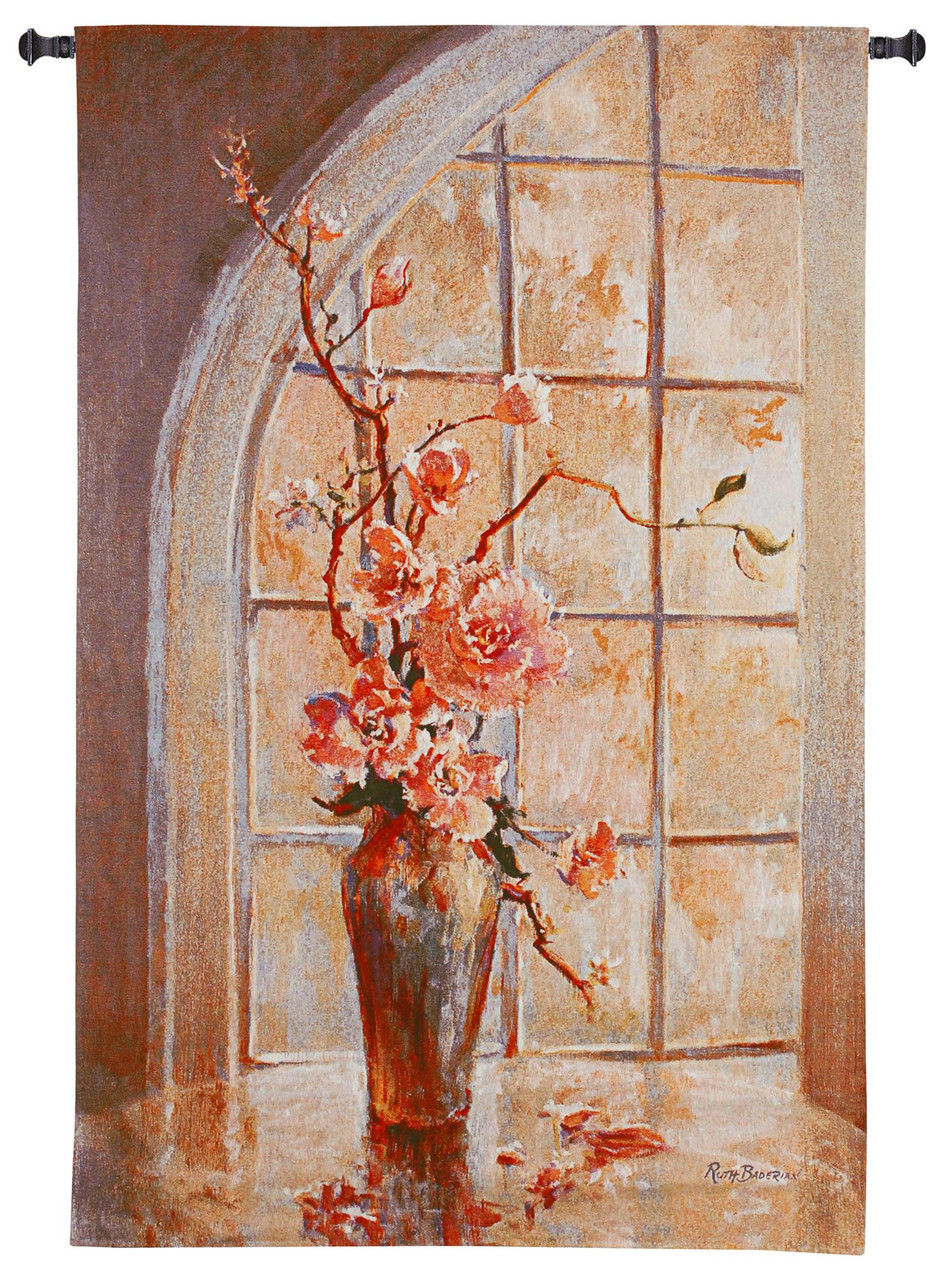 Magnolia arch i by ruth baderian woven tapestry wall art hanging for home living room office decor magnolia flowers in vase with arched window