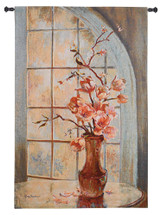 Magnolia Arch II by Ruth Baderian | Woven Tapestry Wall Art Hanging | Beautiful Floral Vase at Arched Window | 100% Cotton USA Size 53x34 Wall Tapestry