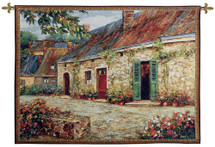 Rapallo At Dawn By Roger Duvall - Woven Tapestry Wall Art Hanging For Home Living Room & Office Decor - European Italy Italian Cottage Floral Home Villa Setting - 100% Cotton - USA 53X39 Wall Tapestry