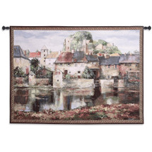 La Seyne sur Mer by Roger Duvall   Woven Tapestry Wall Art Hanging   Classic French Village Autumn Waterfront Setting   100% Cotton USA Size 53x37 Wall Tapestry