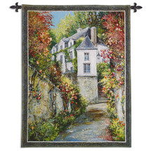 Regency House By Roger Duvall - Woven Tapestry Wall Art Hanging - Lucerne France Pathway In Stately Cityscape Landscape - 100% Cotton - USA 52X39 Wall Tapestry