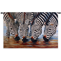 Stripes By Henk Van Zanten  - Woven Tapestry Wall Art Hanging For Home Living Room & Office Decor - Photorealistic Turned To Textile Of Thirsty Zebras Drinking Water Hole Wildlife African - 100% Cotton - USA 52X34 Wall Tapestry