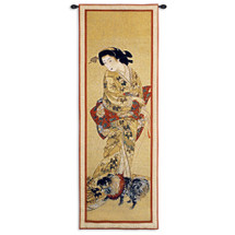 Lady with a Dog | Woven Tapestry Wall Art Hanging | Japanese Geisha Painting Scroll Artwork | 100% Cotton USA Size 51x18 Wall Tapestry