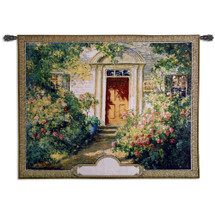 Grandma's Doorway Monogram by Graves | Woven Tapestry Wall Art Hanging | Lush Blooming Floral Springtime Villa | 100% Cotton USA Size 52x40 Wall Tapestry