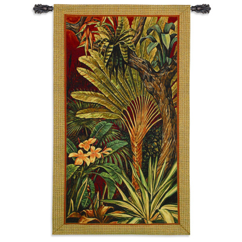 Bali Garden II by John Douglas | Woven Tapestry Wall Art Hanging | Bright Tropical Jungle Foliage on Red | 100% Cotton USA Size 60x35 Wall Tapestry