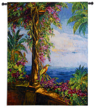 El Mirador | Woven Tapestry Wall Art Hanging | Tropical Vibrant Ocean View from Archway | 100% Cotton USA Size 53x42 Wall Tapestry