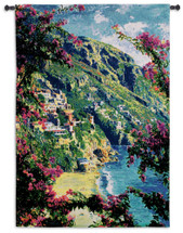 Positano | Woven Tapestry Wall Art Hanging | Cliffside Italian Villa on the Amalfi Coast | 100% Cotton USA Size 53x37 Wall Tapestry