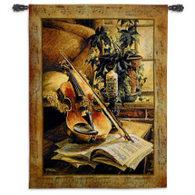 Serenade | Woven Tapestry Wall Art Hanging | Softly Lit Violin with Sheet Music | 100% Cotton USA Size 53x41 Wall Tapestry