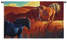 Primary Colors by Nancy Glazier   Woven Tapestry Wall Art Hanging   Contrasting Horse Trio Abstract Equestrian Artwork   100% Cotton USA Size 53x32 Wall Tapestry