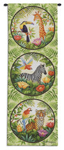 Jungle | Woven Tapestry Wall Art Hanging | Colorful Jungle Wildlife Portraits Vertical Artwork | 100% Cotton USA Size 47x17 Wall Tapestry