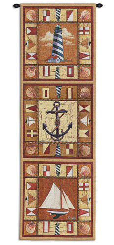 Harbor Icons By Geoff Allen - Woven Tapestry Wall Art Hanging - Boat Anchor Lighthouse Seascape Nautical Children Room Decor - 100% Cotton - USA 48X17 Wall Tapestry