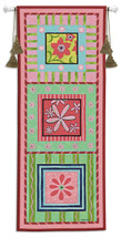 Flower Power | Woven Tapestry Wall Art Hanging | Bright Pastel Floral Panels | 100% Cotton USA Size 44x17 Wall Tapestry