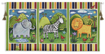 On Safari | Woven Tapestry Wall Art Hanging | Cute Cartoon Animals Panels | 100% Cotton USA Size 53x27 Wall Tapestry
