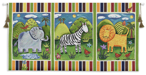 On Safari   Woven Tapestry Wall Art Hanging   Cute Cartoon Animals Panels   100% Cotton USA Size 53x27 Wall Tapestry