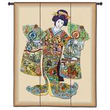 Geisha | Woven Tapestry Wall Art Hanging | Japanese Woman with Vibrant Elegant Kimono | 100% Cotton USA Size 53x41 Wall Tapestry
