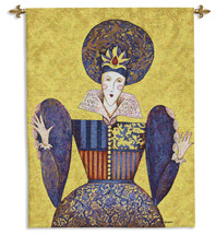 El Sol y la Luna II   Woven Tapestry Wall Art Hanging   Stylistic Spanish Royal Woman in Rich Tones   100% Cotton USA Size 51x38 Wall Tapestry