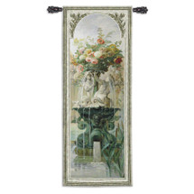 Scenic Panel Iv By Pierre-Victor Galland - Woven Tapestry Wall Art Hanging - French Floral Water Fountain - 100% Cotton - USA 79X31 Wall Tapestry