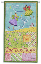 Patchwork Fairy I | Woven Tapestry Wall Art Hanging | Whimsical Princess Fairies on Pastel Field | 100% Cotton USA Size 44x25 Wall Tapestry