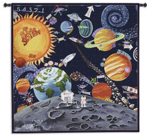 Solar System By Sapna - Woven Tapestry Wall Art Hanging - Children'S Room Decor Sun Futurist Whimsical Moon Planets And Rockets - 100% Cotton - USA 44X44 Wall Tapestry