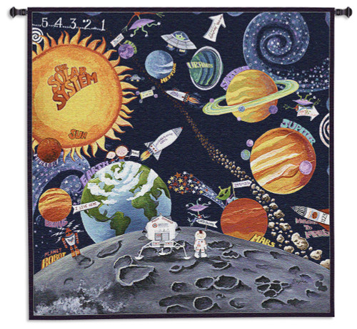 Solar System by Sapna | Woven Tapestry Wall Art Hanging | Wild Children's Artwork with Planets, Aliens, and Spaceships | 100% Cotton USA Size 44x44 Wall Tapestry